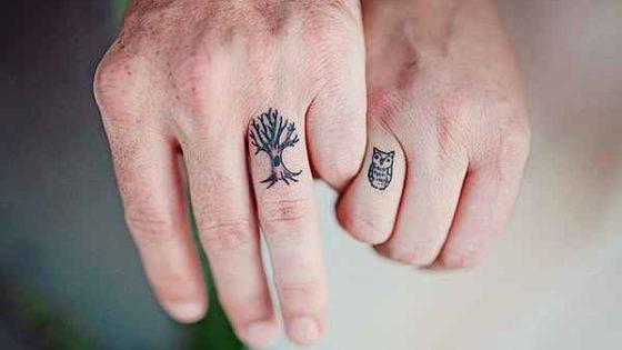 Tattoo, Idee, Vogel, Baum, finger, Kleinigkeit