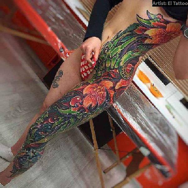 Bein tattoos frauen 250+ Tattoos