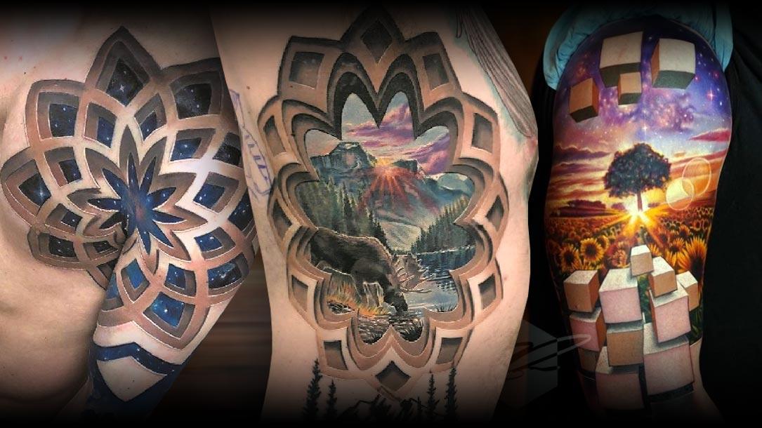 Tattoo, Idee, Ornament, Baum, Berg, Elch