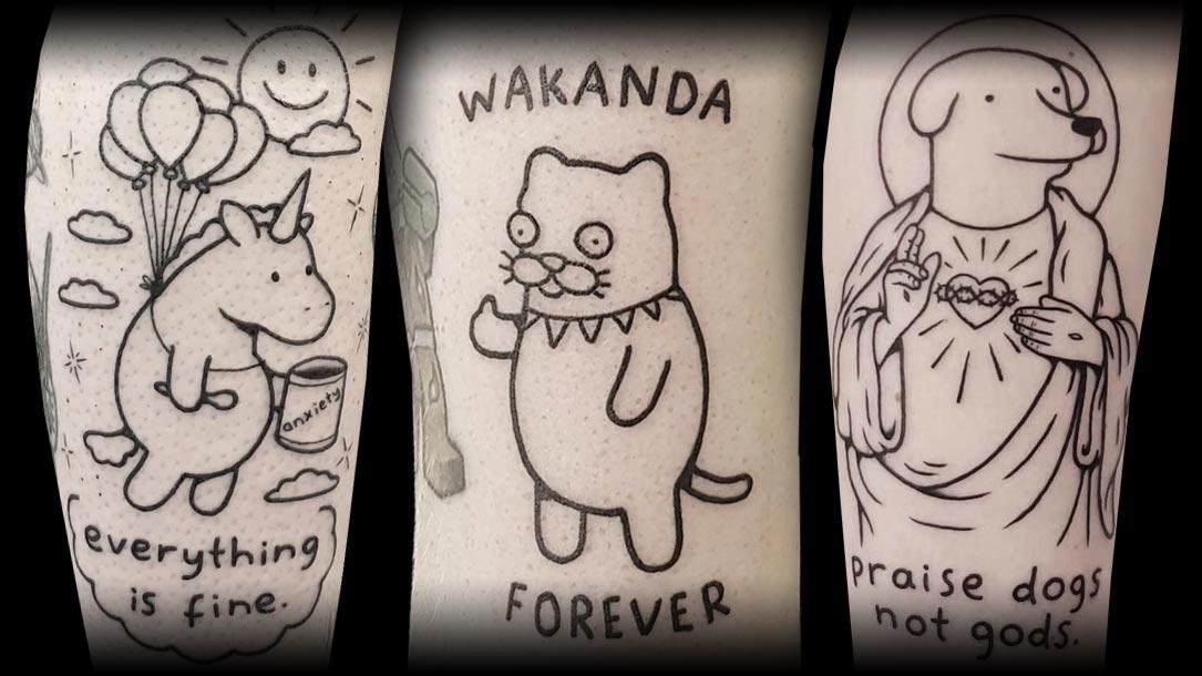 Tattoo, Idee, Hund, Katze, Einhorn, Newschool