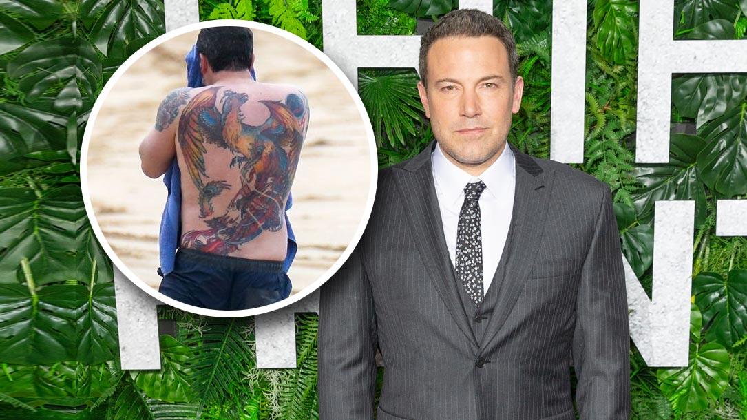 Tattoo, Idee, Ben-Affleck, Schauspieler, Rücken, Vogel, Phönix