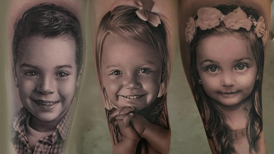 Tattoo, Idee, Realistic, Portrait, Blume, Kind