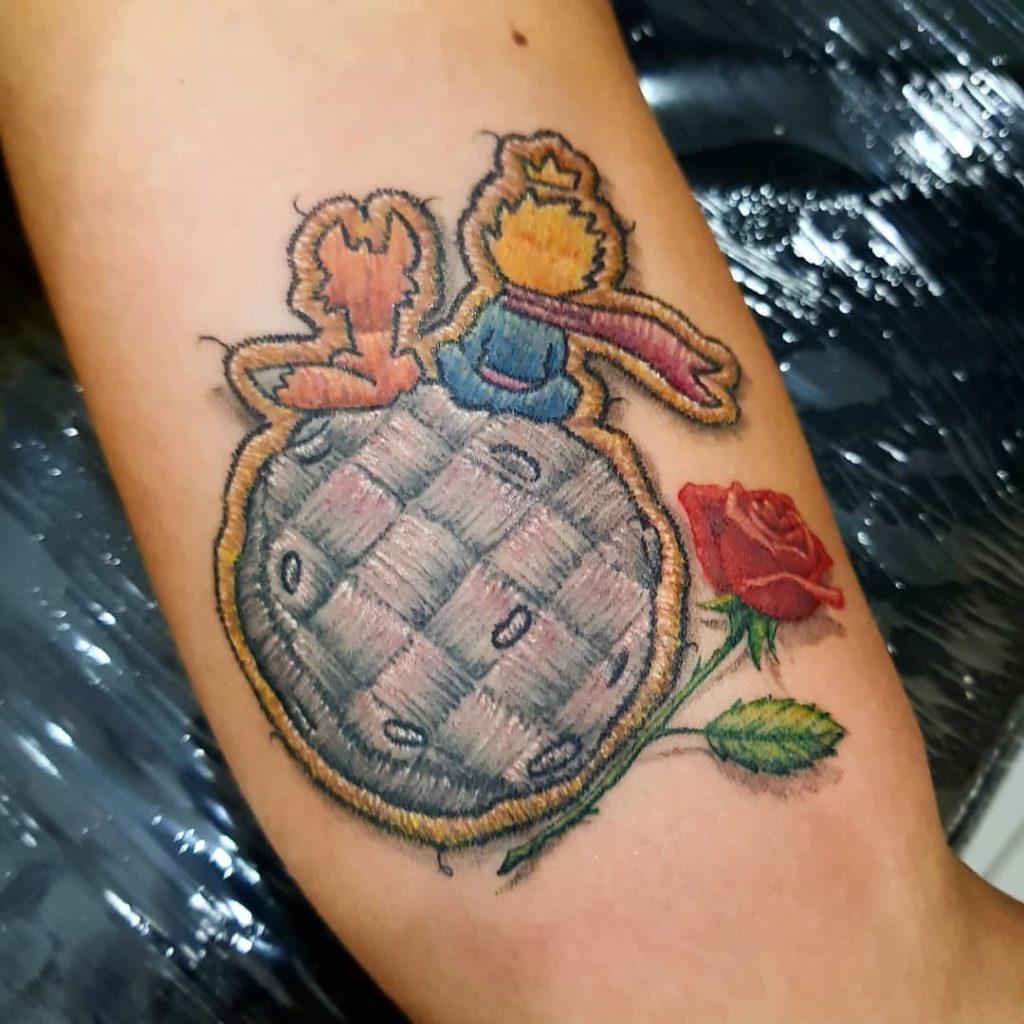 Tattoo, Idee, Blume, Aufnäher, Der kleine Prinz, Newschool