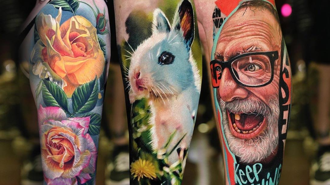 Tattoo, Idee, Blume, Hase, Portrait, Wade, Oberarm, realistic
