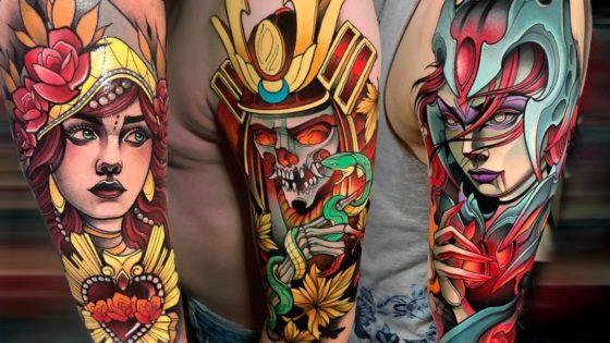 Tattoo, Idee, Oberarm, Blume, Samurai, Schlange