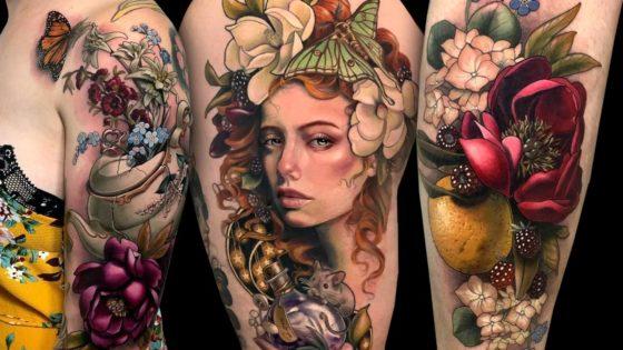 Tattoo, Idee, Blume, Frucht, Realistic, Maus, Weiblich, Oberarm