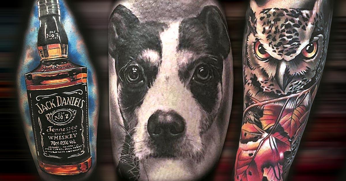 Tattoo, Idee,Hund, Realistic, Vogel, Flasche