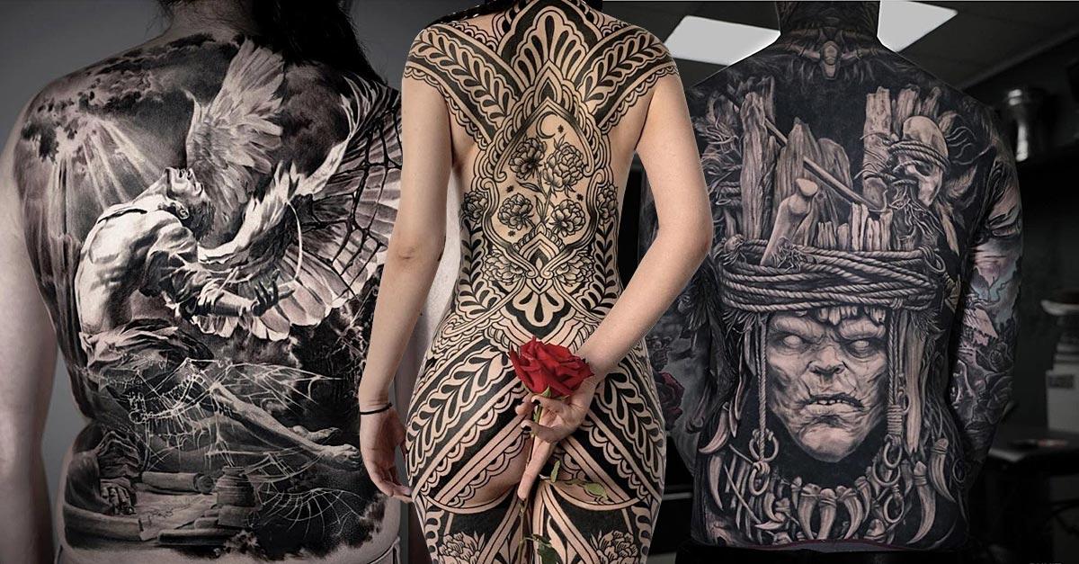 Motive frau tattoo rücken Tattoo am